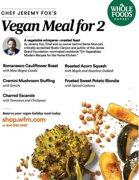 Whole Foods Market offers Thanksgiving Vegan Meal for 2