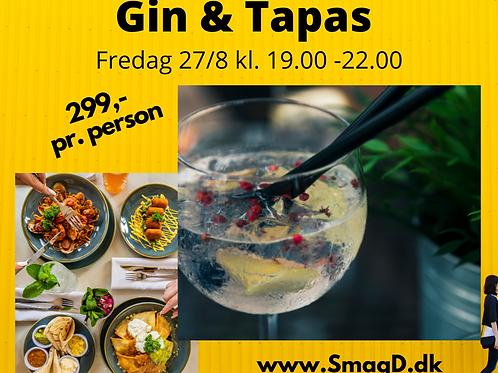Gin & Tapas Smagning Fredag 27/8 kl. 19.00