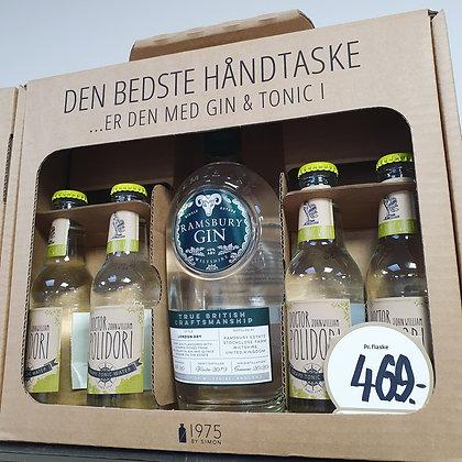 Håndtaske Gaveæske Ramsbury Gin + 4 stk. tonic.