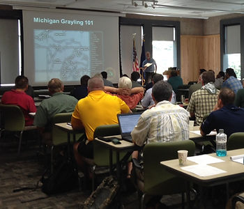 """Classroom setting for """"Michigan Grayling 101"""" educational session"""
