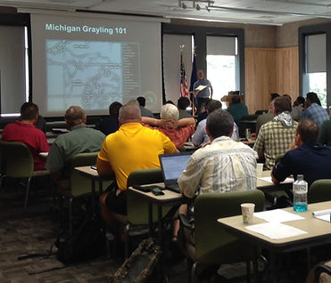 "Classroom setting for ""Michigan Grayling 101"" educational session"