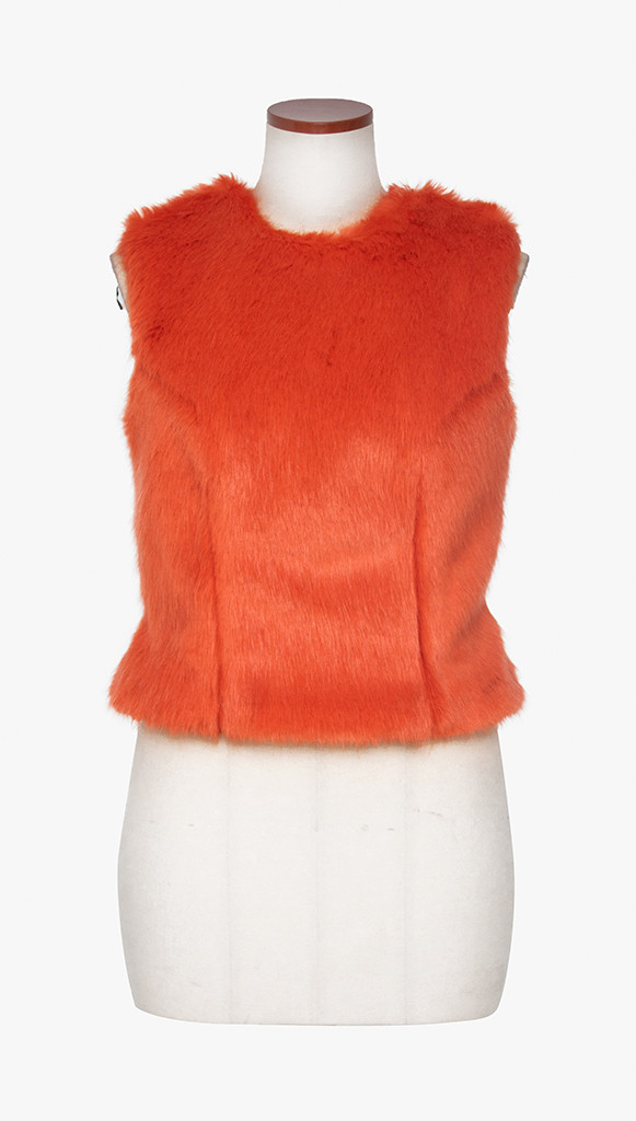 Sleeveless faux fur top with wool material back