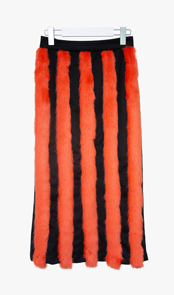 Form fitting striped faux fur-wool skirt with wool material back