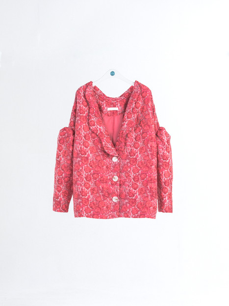 Rose pattern jacquard silk Jacket with wavy collar & unique silhouette