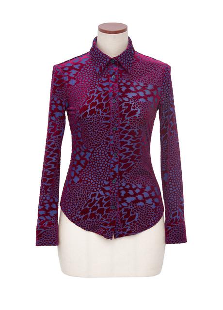 Leopard-print stretch burnout velvet button-down shirt