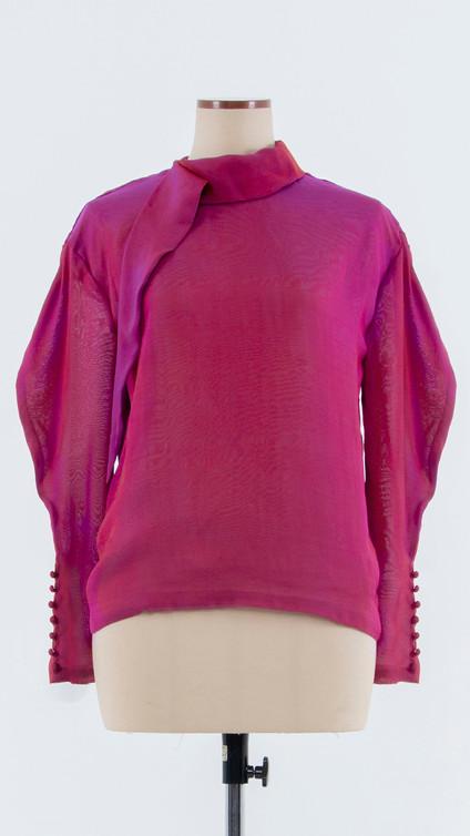 Shiny two-tone silk Blouse