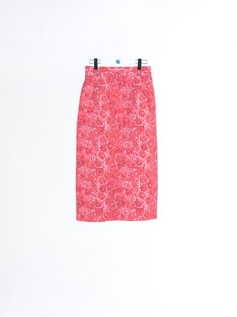 Rose pattern jacquard silk midi Skirt