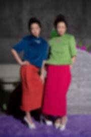 퍼 자수 네이비, 그린 + 누빔 스커트 주황, 핑크 02.jpg