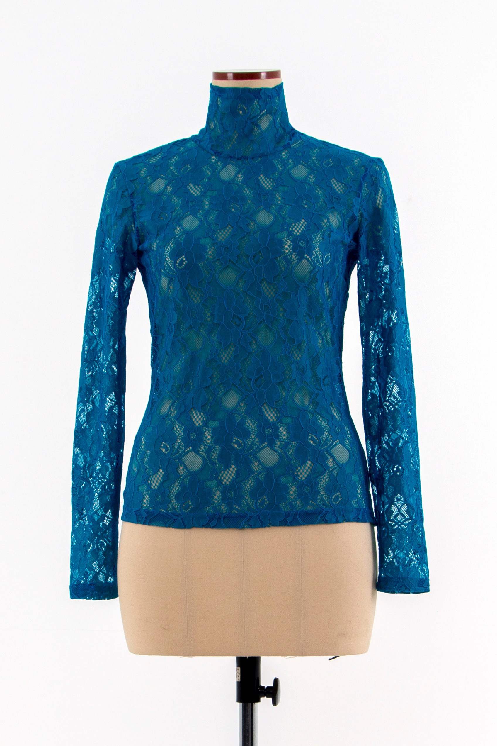 Roll-neck lace Top