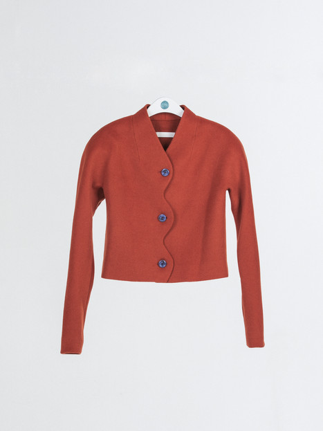Cashmere wool Jacket with wavy front detail