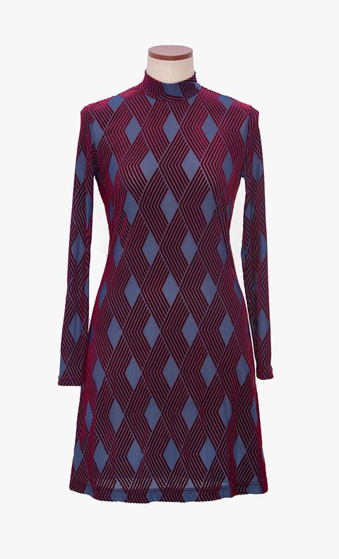 Stretch burnout velvet dress with diamond patterns