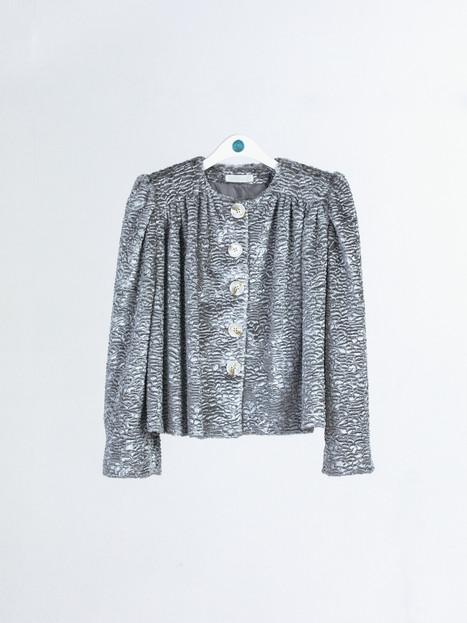 Embossed velvet short Coat with shirring detail