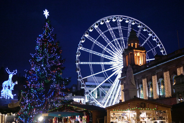 ferris wheel and Xmas in Belfast sign