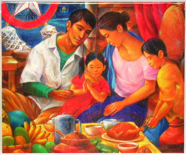 Filipino family eating Christmas dinner