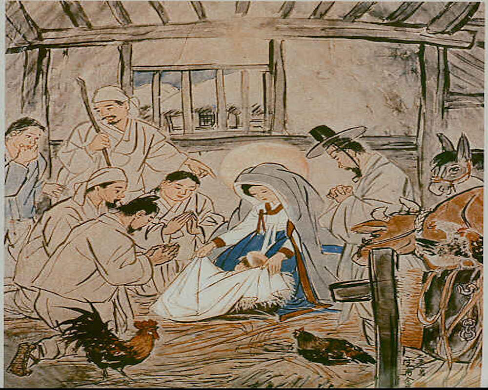The Birth of Jesus (early 20th century) by Woonbo Kim Ki-Chang