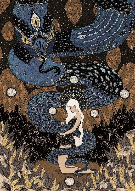 draw of woman and snake