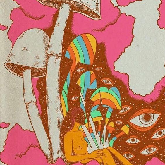 artwork colorful mushrooms