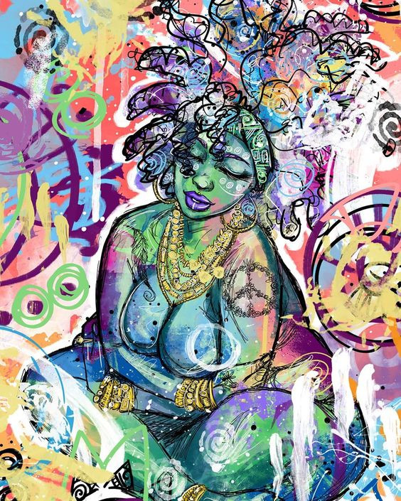 draw colorful woman