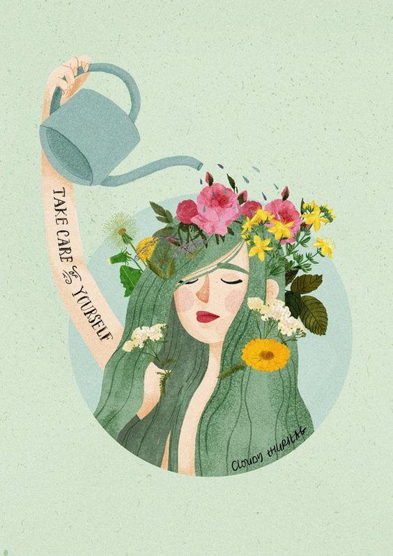 woman watering flower hair