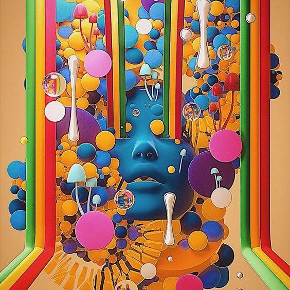 artwork mushrooms colors
