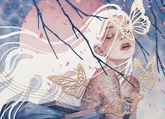 woman draw butterflies
