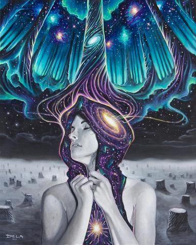 draw of woman thinking universe