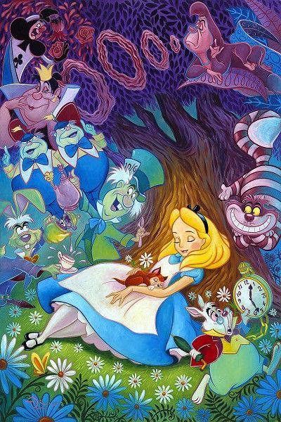 drawing of alice sitting in the garden