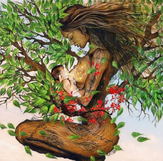 drawing woman and baby tree