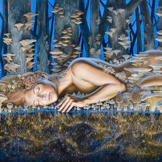 draw woman lying on mushrooms