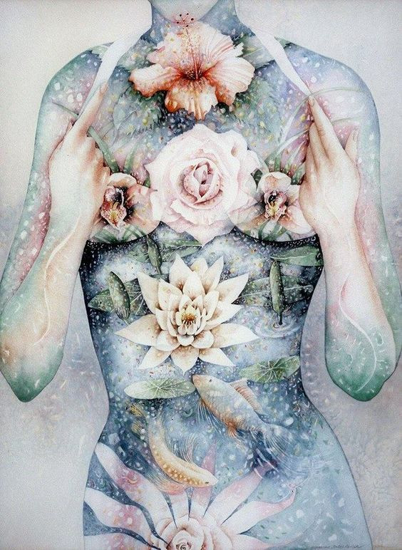 art of women chest with flowers