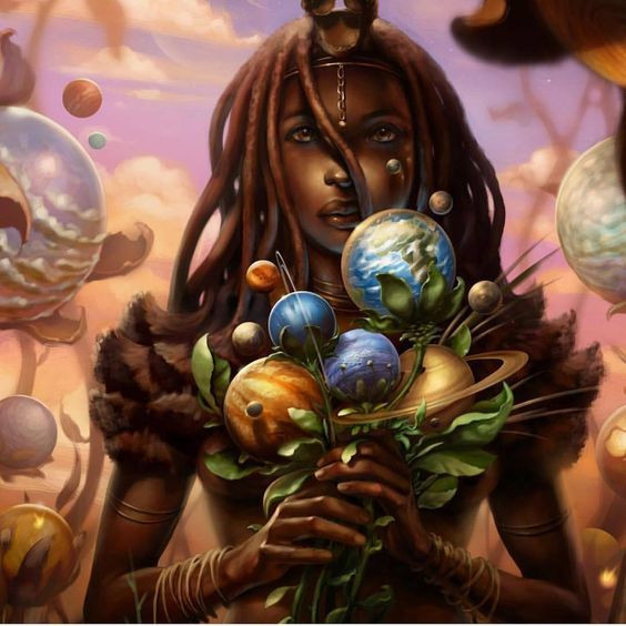 draw black women holding bouquet of planets