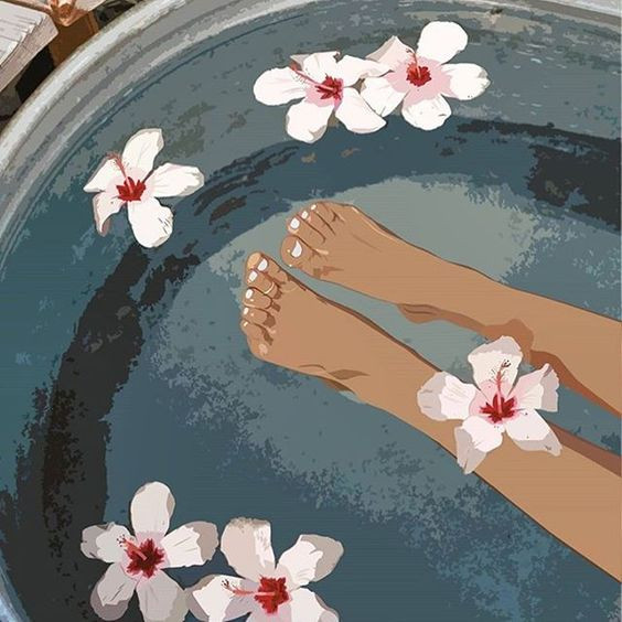 draw feet and flowers