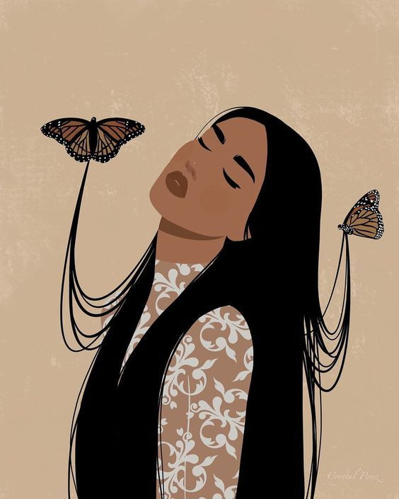 draw woman and butterflies