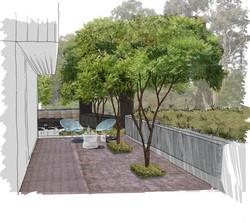 Contemporary courtyard, Farnham
