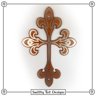 """Wall Cross The front piece is .030"""" aluminum, the back piece is 1/8"""" stained wood and comes with a picture frame mount on the back to mount on the wall. This particular one is 12.5"""" x 8.5"""""""