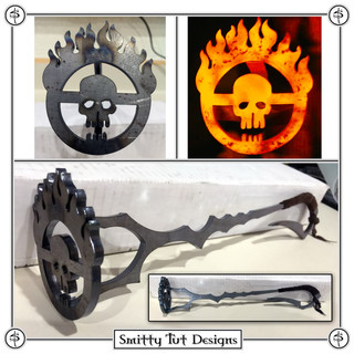 """Steel Mad Max Branding Iron - Made from 7G Steel with Suede Handle Wraps, measuring with a 13"""" handle, the brand face itself is 2.5"""" wide x 3"""" tall."""