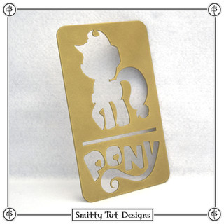 """Applejack Pony Sign! - Powdercoated Glossy Gold Made from 16G Steel 7.75"""" Tall x 4.75"""" Wide"""
