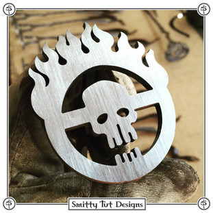 "Steel Mad Max Branding Iron - Made from 7G Steel with Suede Handle Wraps, measuring with a 13"" handle, the brand face itself is 2.5"" wide x 3"" tall."