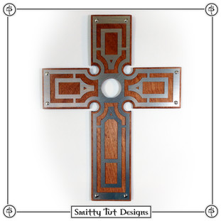 """Wall Cross The front piece is .030"""" aluminum, the back piece is 1/8"""" stained wood and comes with a picture frame mount on the back to mount on the wall. This particular one is 12.5"""" x 9"""""""