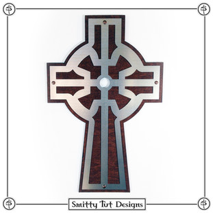 """Wall Cross The front piece is .030"""" aluminum, the back piece is 1/8"""" stained wood and comes with a picture frame mount on the back to mount on the wall. This particular one is 12.5"""" x 8"""""""