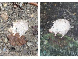 Glückssteinschweinchen unter Sternenhimmel