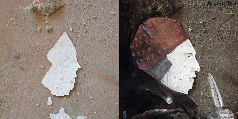 Der Zufall inspiriert. Links ist das Ausgangsbild und rechts wird durch Mischtechnik herausgehoben, was ich links sehe.