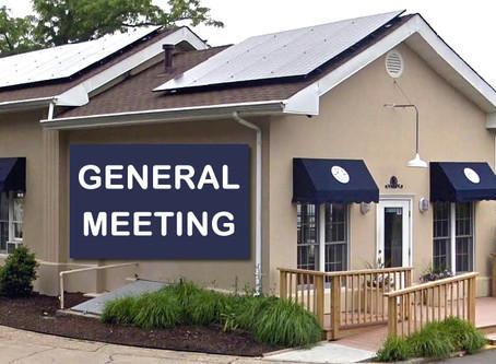 General Meeting - Thursday, August 1st