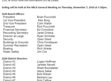 General Meeting Nov. 7th / Board Nominations for 2020