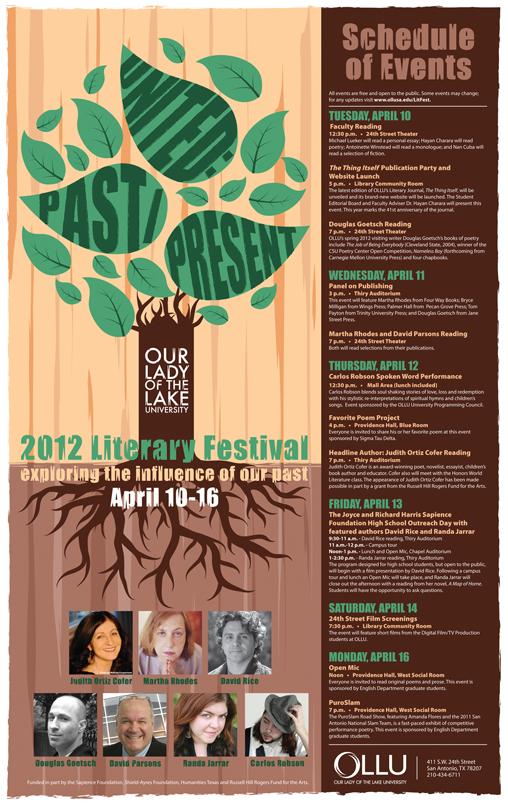 2012 OLLU Literary Festival Poster