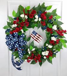 Full Floral Metal Flag Wreath