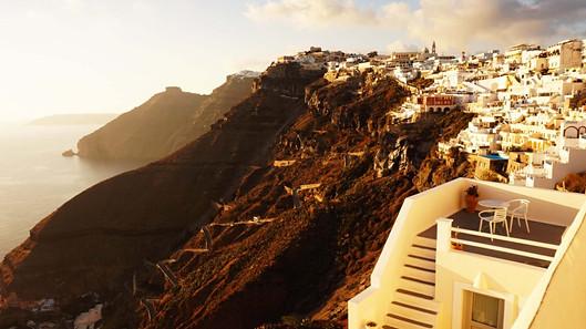 Santorinio sala. Vaizdas į Firos miestą