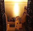 Santorinis Fira saulėlydis