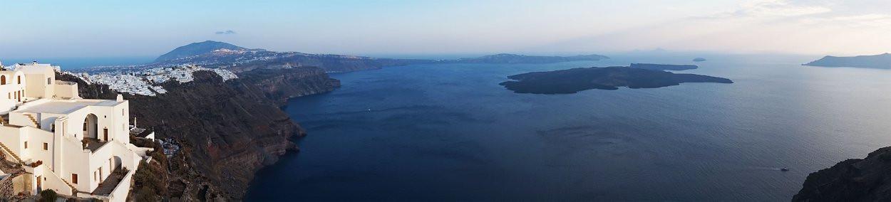 Santornio salos panorama, žvilgsnis į kalderą