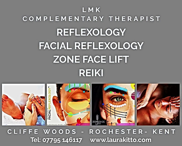 Treatments at LMK; Reflexology, Facial Reflexology, Zone Face Lift, Reiki, Cliffe Woods, Rochester, Kent